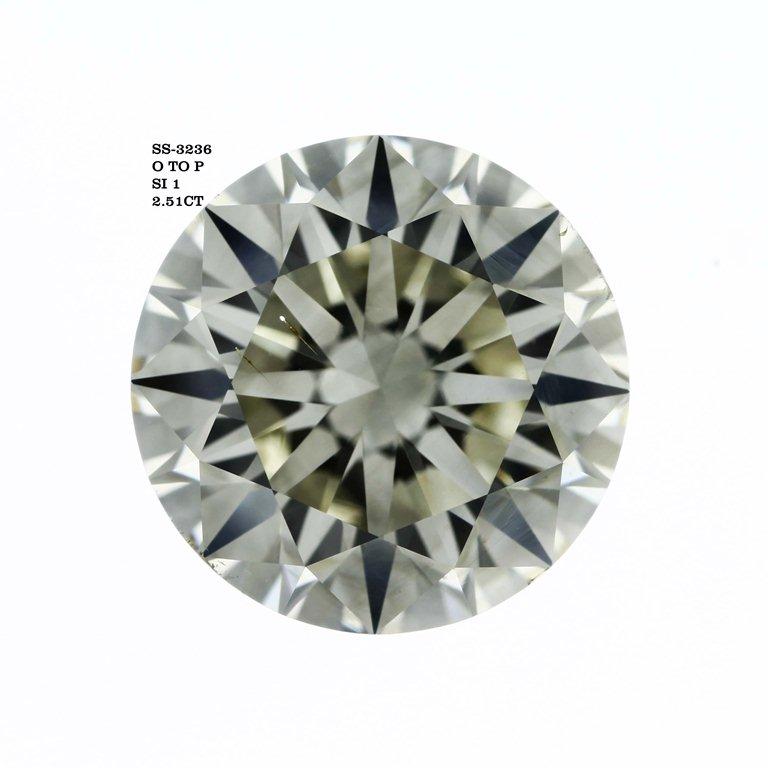 2.51 Carat Round Cut Loose Diamond SI1 Clarity M Color Very Good Cut