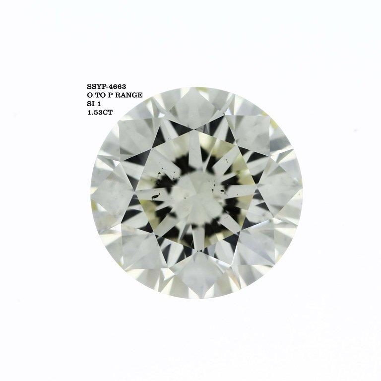 1.53 Carat Round Cut Loose Diamond SI1 Clarity M Color Excellent Cut